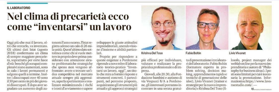 Messaggero Veneto - Inventarsi un lavoro, oggi